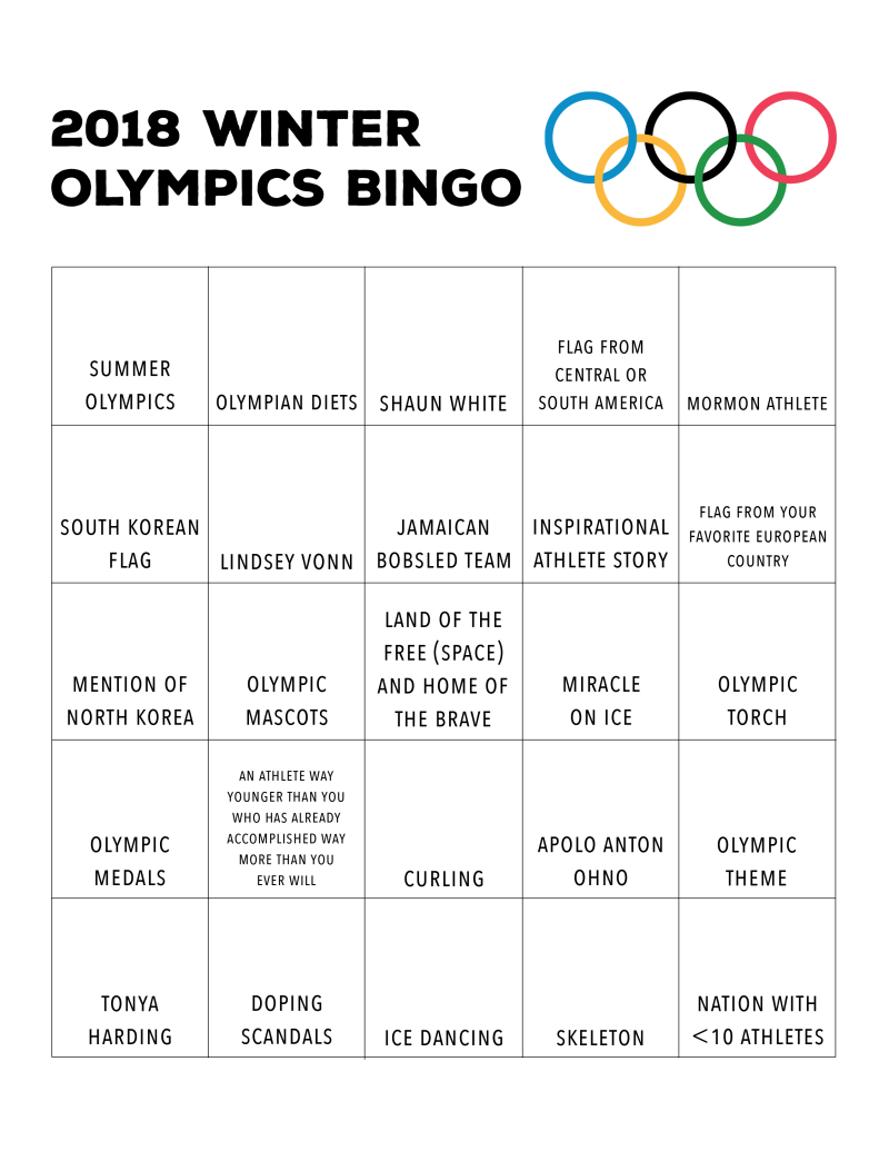2018 Winter Olympics Bingos