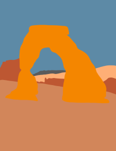 Illustration of Delicate Arch in Arches National Park.