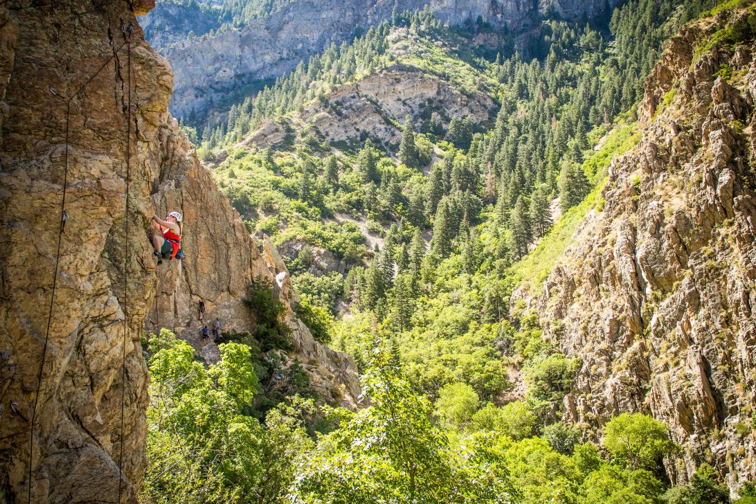 Anna rock climbing in Rock Canyon in Provo, Utah during the summer.